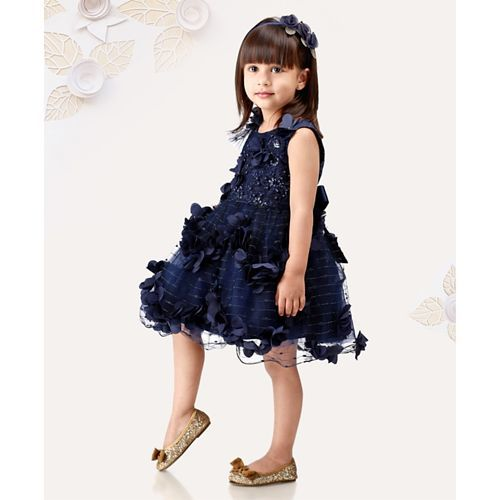 Mark & Mia Sleeveless Party Wear Frock Sequin Embellishment - Navy Blue
