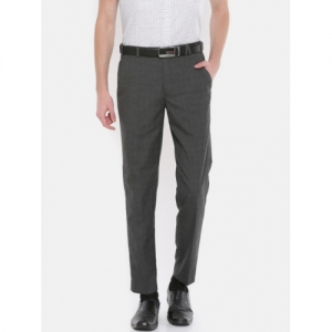 Park Avenue Charcoal Neo Fit Checked Formal Trousers