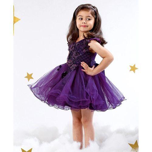 Mark & Mia Party Wear Frock Felt Flower Detail - Purple