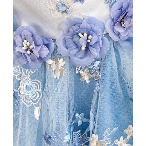 Mark & Mia Floral Work Cap Sleeves Flare Dress - Light Blue