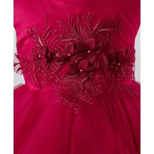 Mark & Mia Sleeveless Flowers Embellished Net Dress - Magenta