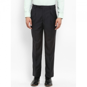 Park Avenue Men Charcoal Grey Regular Fit Checked Formal Trousers