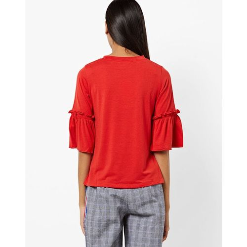 AND Round-Neck Top with Bell Sleeves