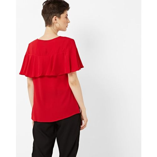 FTWE Round-Neck Blouse with Panel Overlay