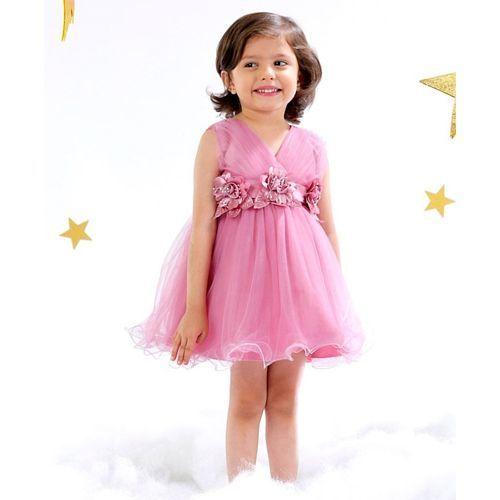 Mark & Mia Flower Applique V Neck Sleeveless Net Dress - Pink