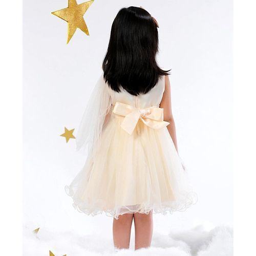 Mark & Mia Flower & Pearl Applique Sleeveless Net Dress - Cream