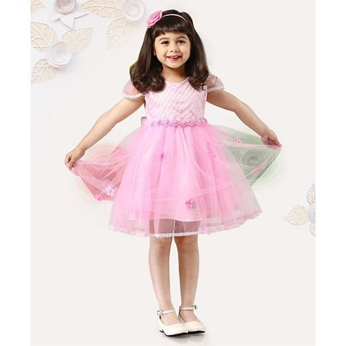 Mark & Mia Cap Sleeves Pearl Embellished Party Frock - Pink