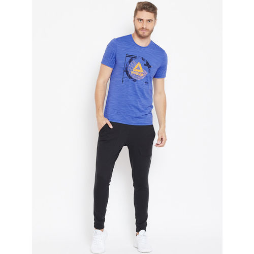 Reebok Men Blue Workout Activchill Graphic Print Training T-shirt