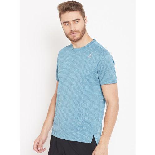 Reebok Men Blue Self-Design WOR Melange Tech Top Training T-Shirt