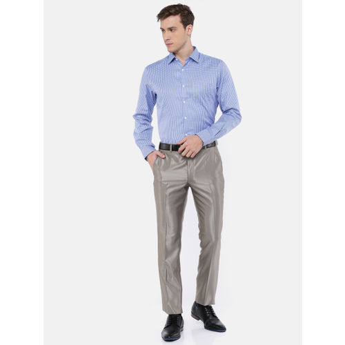 Parx Men Grey Slim Fit Self Design Formal Trousers