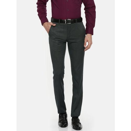 Van Heusen Men Grey Skinny Fit Self Design Formal Trousers
