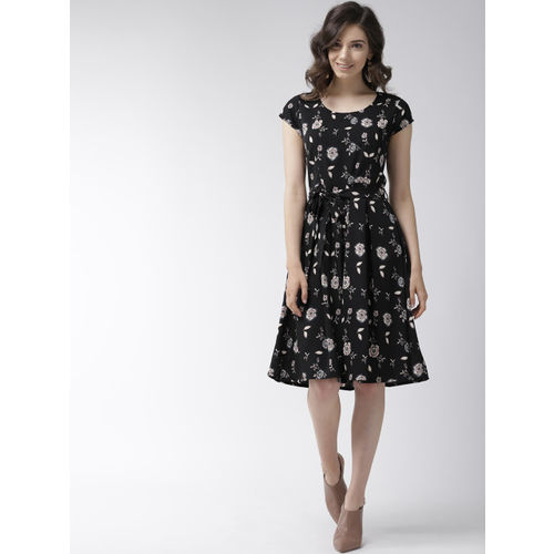WISSTLER Women Black & Beige Printed Fit & Flare Dress