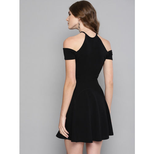 Veni Vidi Vici Women Black Solid Cold-Shoulder Fit & Flare Dress