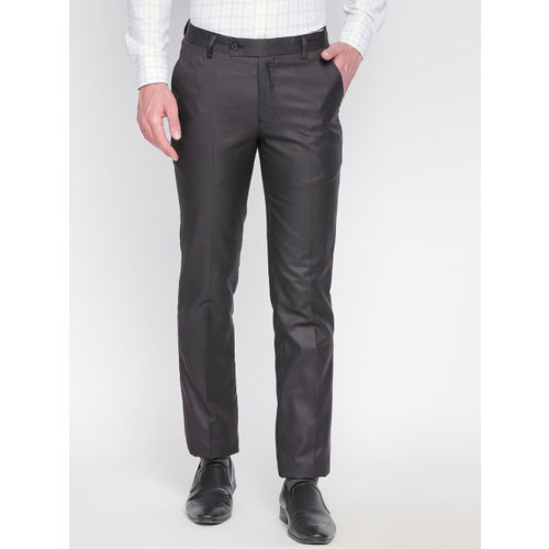 Solemio Men Black Slim Fit Solid Formal Trousers