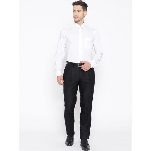 Blackberrys Men Black Sharp Regular Fit Solid Formal Trousers