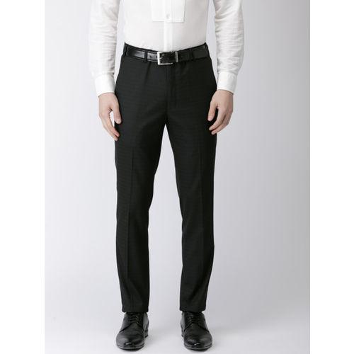 Park Avenue Men Black Neo Regular Fit Self Design Formal Trousers