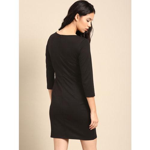 ether Women Black Solid Sheath Dress