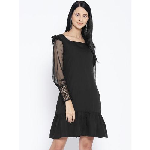 Karmic Vision Women Black Solid A-Line Dress