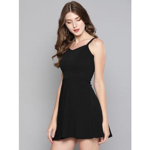 Veni Vidi Vici Women Black Fit and Flare Mini Dress