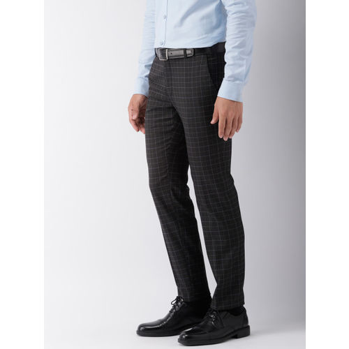 Raymond Men Black & Blue Slim Fit Checked Formal Trousers