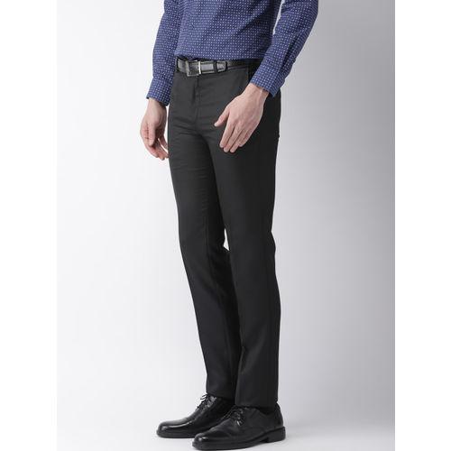 Raymond Men Black Slim Fit Solid Formal Trousers