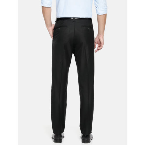 U.S. Polo Assn. Tailored Men Black Tailored Fit Solid Formal Trousers
