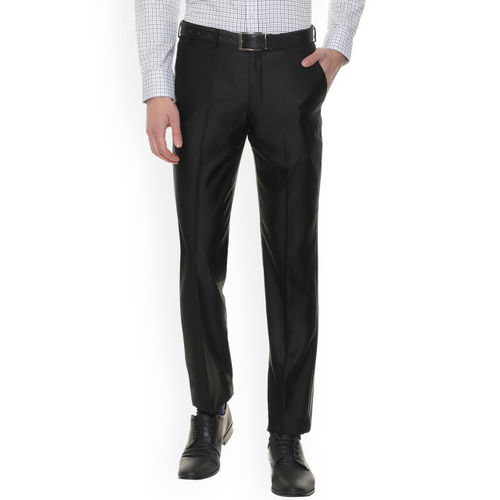 Louis Philippe Men Black Regular Fit Solid Formal Trousers