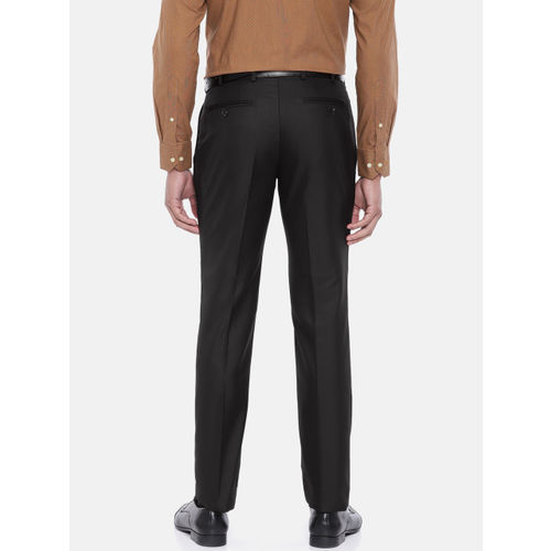 Raymond Men Black Slim Fit Solid Formal Trousers