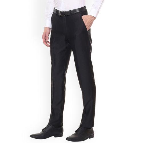 Louis Philippe Men Black Slim Fit Self Design Formal Trousers