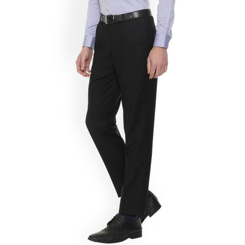 Louis Philippe Men Black Slim Fit Solid Formal Trousers