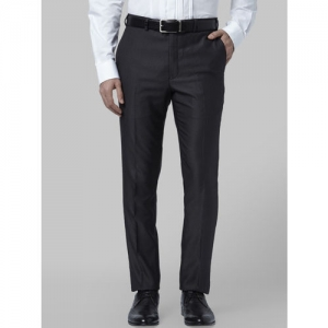 Park Avenue Men Black Regular Fit Solid Formal Trousers