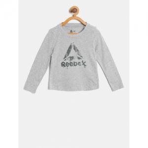 Reebok Girls Grey Melange ELEM Printed Round Neck T-shirt