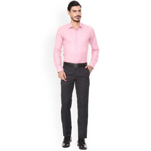 Peter England Men Black Slim Fit Self-Design Formal Trousers