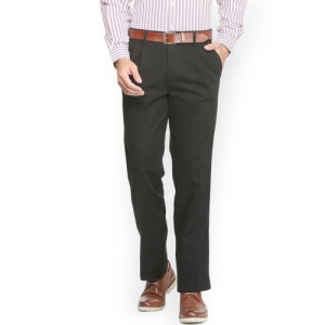 Allen Solly Men Black Regular Fit Solid Formal Trousers