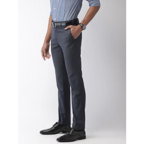 Raymond Men Charcoal Grey Slim Fit Self-Design Formal Trousers