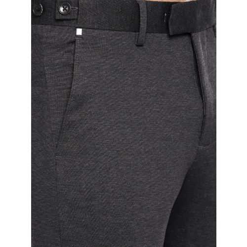 U.S. Polo Assn. Men Charcoal Grey Slim Fit Solid Formal Trousers