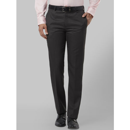 Raymond Men Charcoal Black Regular Fit Solid Formal Trousers