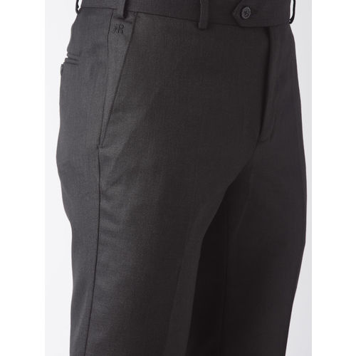 Raymond Men Charcoal Grey Slim Fit Solid Formal Trousers
