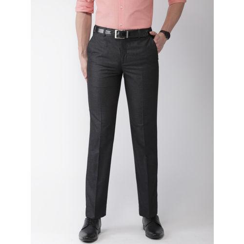 Park Avenue Men Charcoal Grey Smart Slim Fit Self-Design Formal Trousers