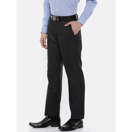 Park Avenue Men Charcoal Grey Self-Design Formal Trousers