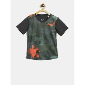 Reebok Boys Charcoal Grey B Train AOP Printed T-shirt
