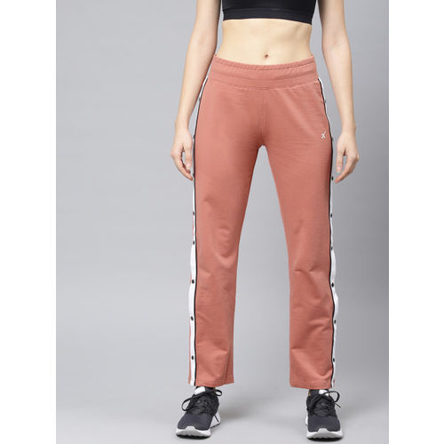 HRX by Hrithik Roshan Women Peach-Coloured Solid Lifestyle Snap Slit Track Pants