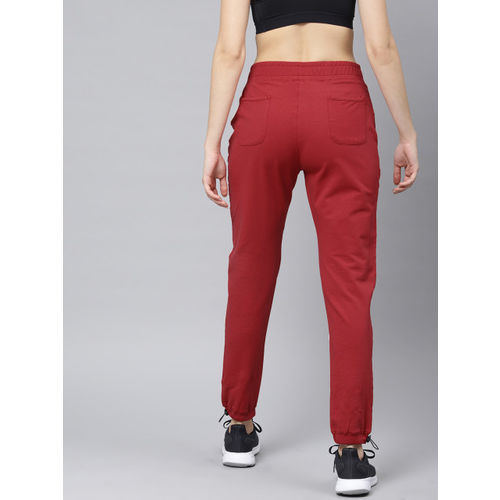 HRX by Hrithik Roshan Women Red Solid Slim Fit Lifestyle Joggers Trackpants