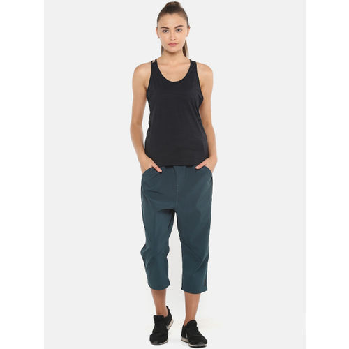 Reebok Women Teal Green Solid Training Supply 7/8 Track Pants