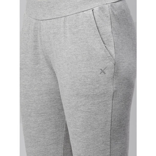 HRX by Hrithik Roshan Women Grey Melange Active Straight Fit 3/4th Track pants