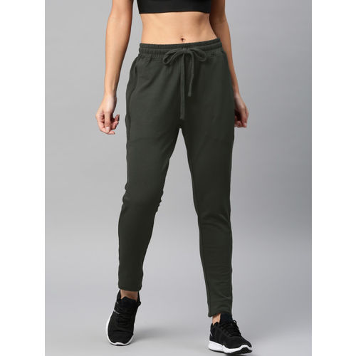 HRX by Hrithik Roshan Women Olive Green Solid Track Pants