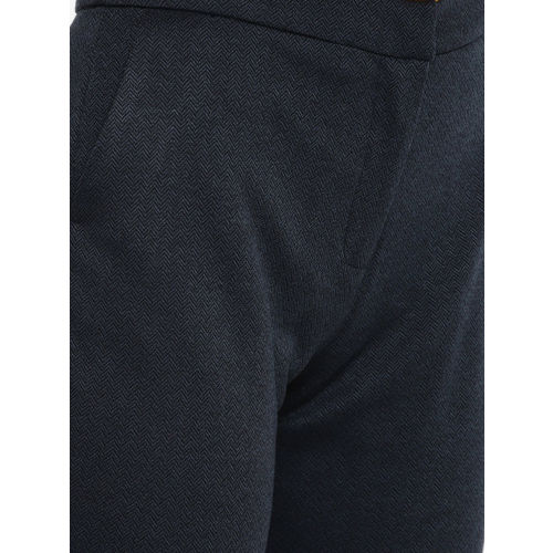 ether Women Navy Blue Self Design Track Pants