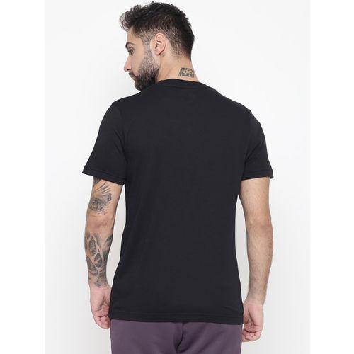 Reebok Men Black & Grey TE Brand Graphic Print Training T-shirt