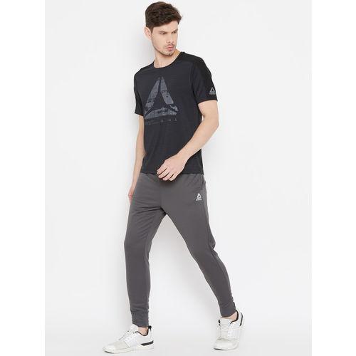 Reebok Men Black Printed Slim Fit AC GRAPHIC MOVE Training T-shirt