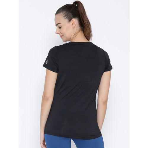 Reebok Women Black SS ACTIVChill Graphic Print Running T-shirt